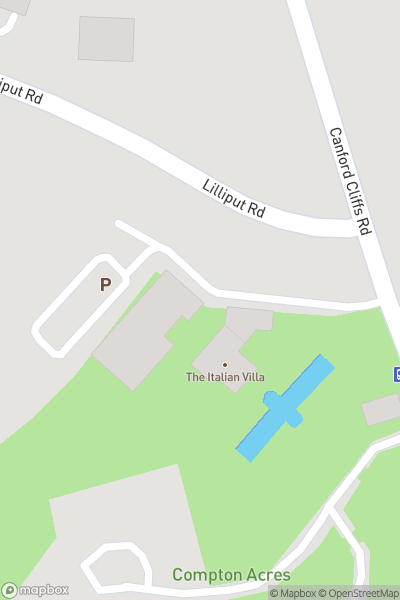 A map indicating the location of Compton Acres