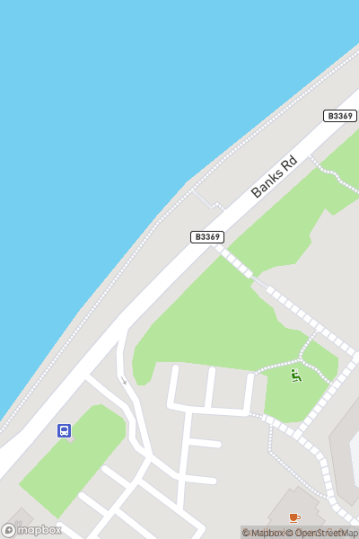A map indicating the location of Sandbanks Beach