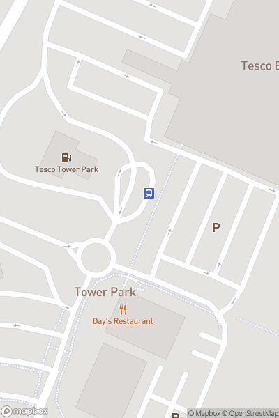 A map indicating the location of Tower Park