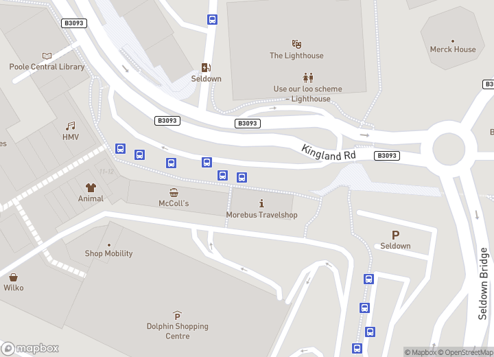 A map indicating the location of The more shop