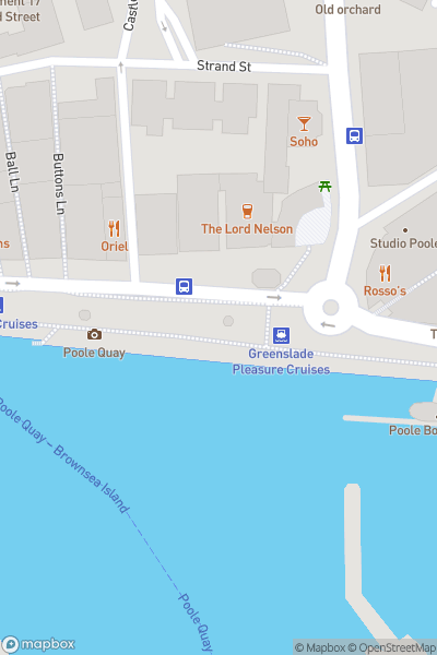 A map indicating the location of Poole Quay