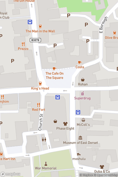 A map indicating the location of Discover Wimborne