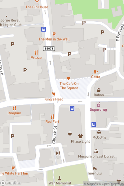 A map indicating the location of Wimborne Minster