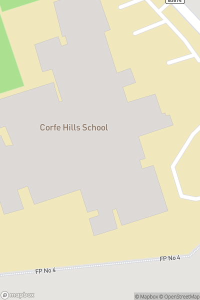 A map indicating the location of Corfe Hills School