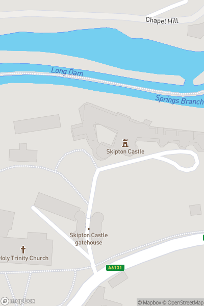 A map indicating the location of Skipton Castle