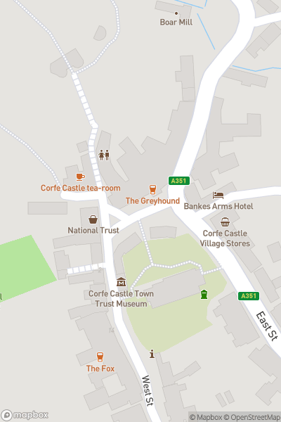 A map indicating the location of Corfe Castle and Village