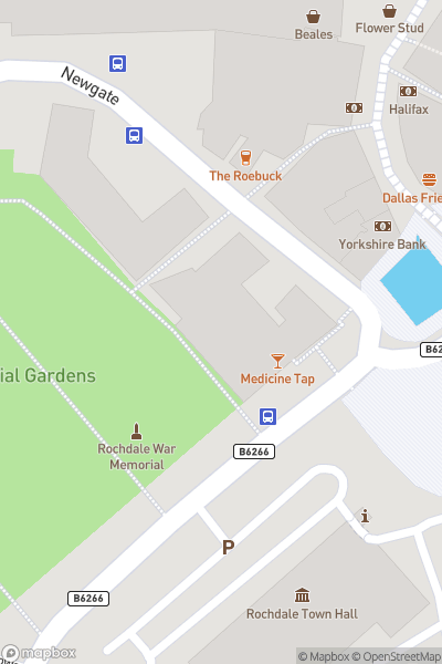 A map indicating the location of Rochdale Canal