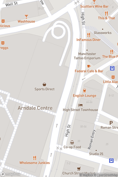 A map indicating the location of Manchester Arndale