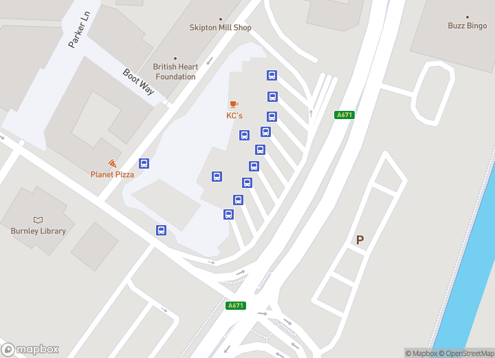 A map indicating the location of Burnley bus station
