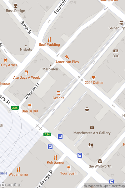 A map indicating the location of Manchester Art Gallery
