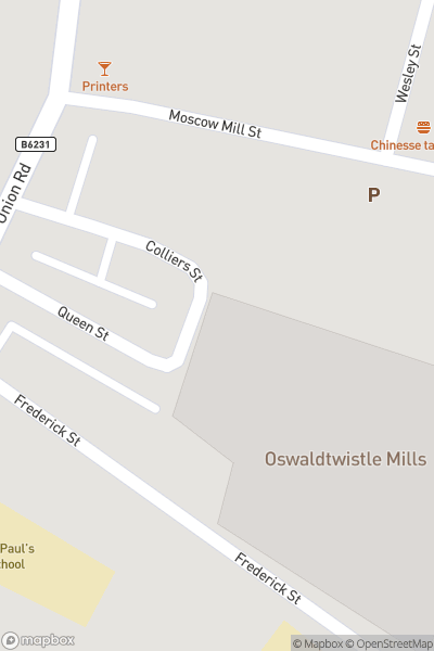 A map indicating the location of Summer Trip to Oswaldtwistle Mill