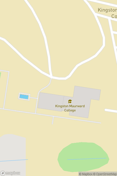 A map indicating the location of Kingston Maurward College