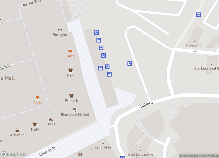 A map indicating the location of Blackburn bus station