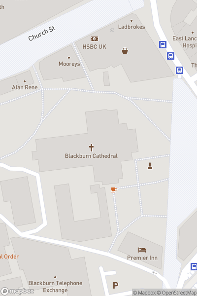 A map indicating the location of Blackburn Cathedral