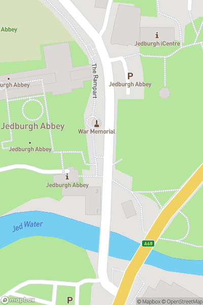 A map indicating the location of Jedburgh Abbey