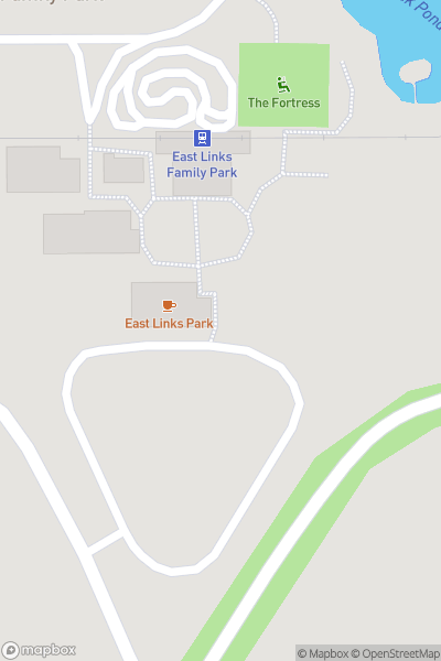 A map indicating the location of East Links Family Park