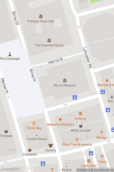 A map indicating the location of Harris Museum
