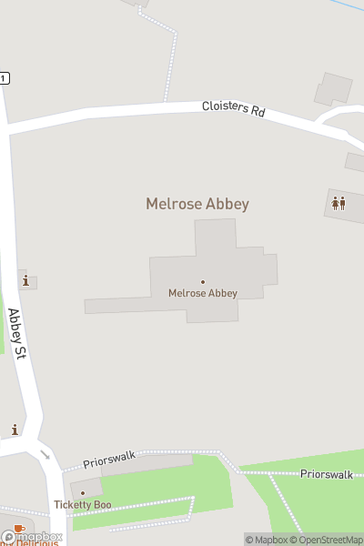 A map indicating the location of Melrose Abbey