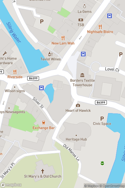 A map indicating the location of Romeo and Juliet: ROH Ballet at Heart of Hawick