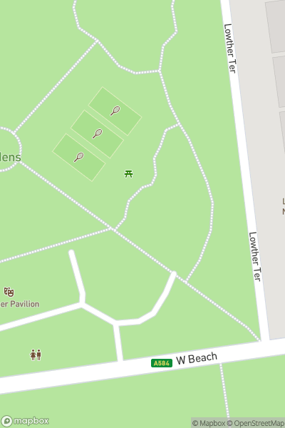 A map indicating the location of Lowther Pavilion & Gardens