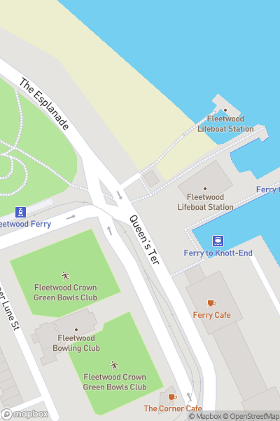 A map indicating the location of Fleetwood/Knott End Ferry
