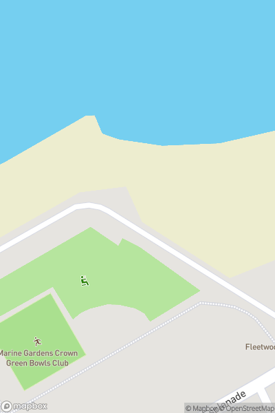 A map indicating the location of Marine Hall and Gardens