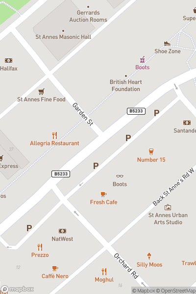 A map indicating the location of St Annes Shopping Centre