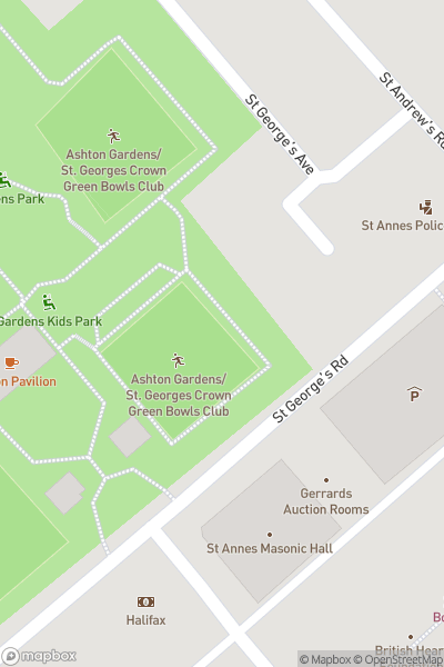A map indicating the location of Les Dawson Memorial Statue
