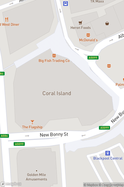 A map indicating the location of Coral Island