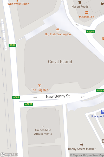 A map indicating the location of The Buccaneer Bar