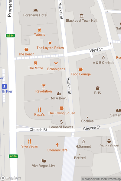 A map indicating the location of Revolution Blackpool