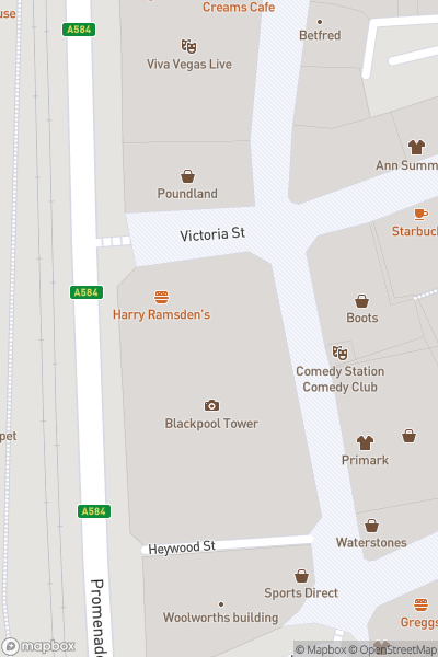 A map indicating the location of Blackpool Tower Dungeon