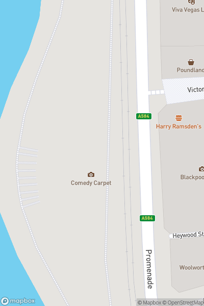 A map indicating the location of Comedy Carpet