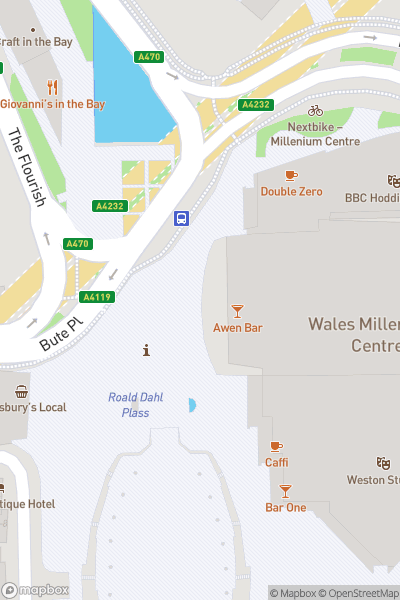 A map indicating the location of Cardiff Bay Spy Mission Treasure Trail