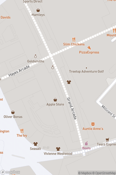 A map indicating the location of St. Davids Shopping