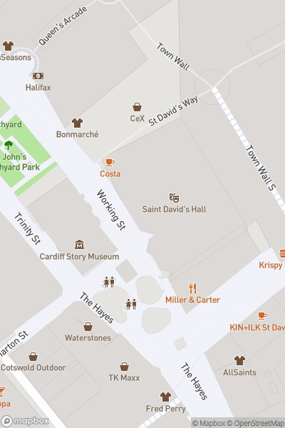 A map indicating the location of St David's Hall