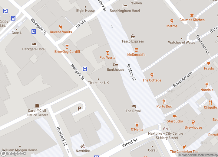 A map indicating the location of 47 Westgate Street, Cardiff