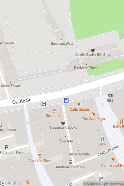 A map indicating the location of Cardiff Animal Wall
