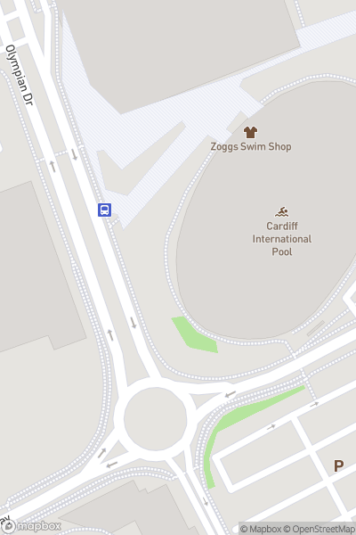 A map indicating the location of Cardiff International Pool