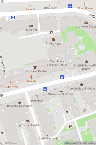 A map indicating the location of Edinburgh Festival Fringe