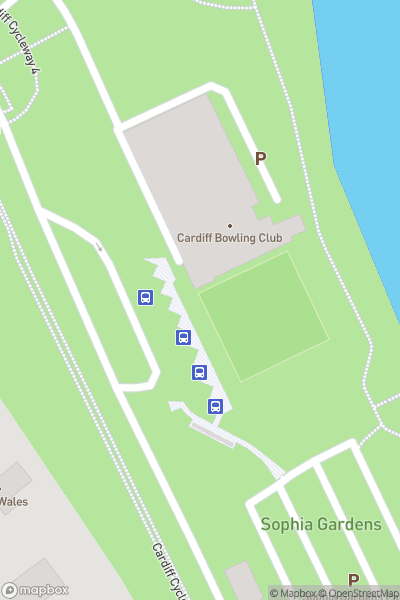 A map indicating the location of Sophia Gardens & Pontcanna Fields