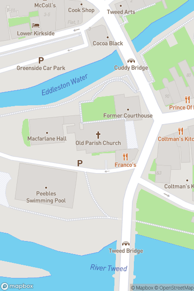 A map indicating the location of Peebles Town Centre