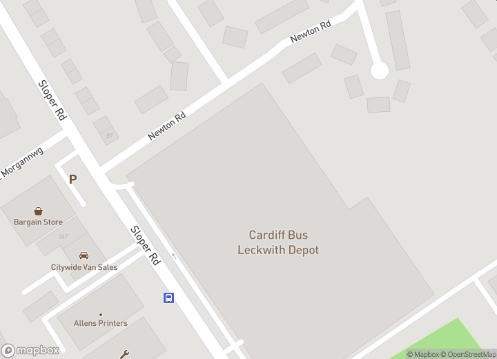 A map indicating the location of Head Office, Sloper Road, Cardiff