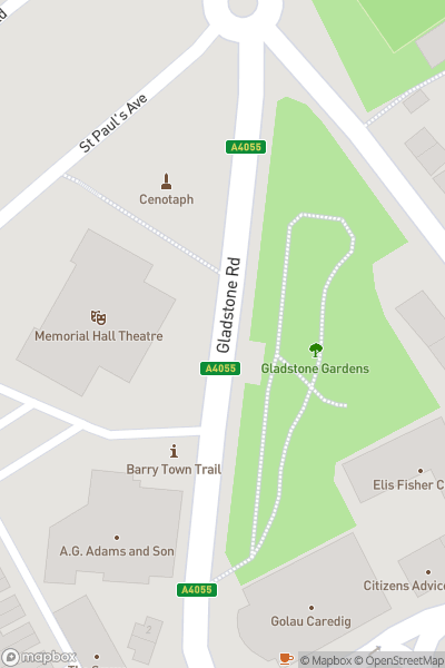 A map indicating the location of Barry Memo Arts Centre