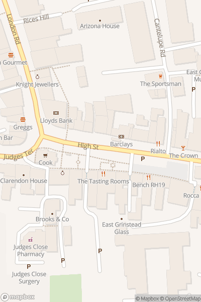 A map indicating the location of East Grinstead
