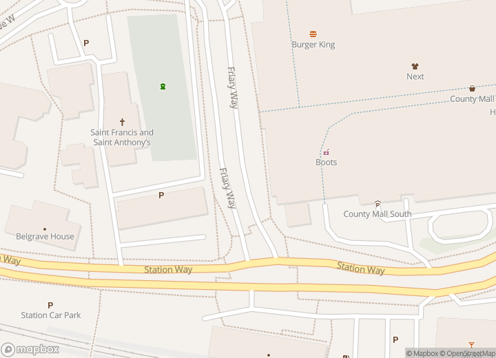 A map indicating the location of Crawley Travel Shop