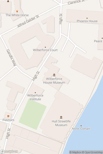 A map indicating the location of Wilberforce House
