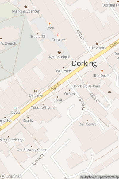 A map indicating the location of Dorking