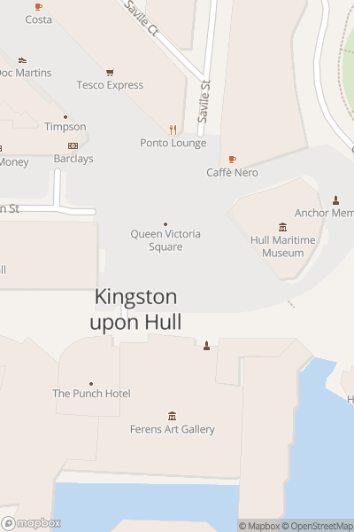 A map indicating the location of New bus launch - Hull
