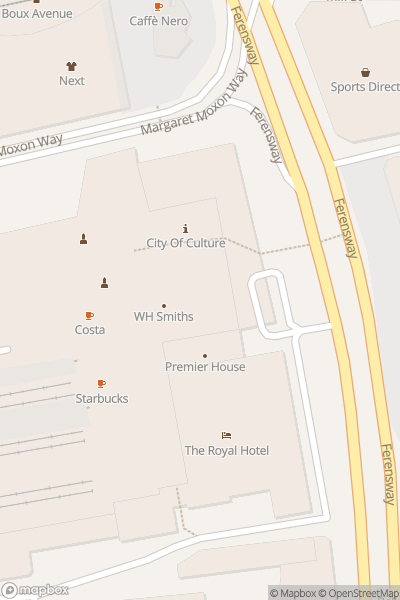 A map indicating the location of Hull City Centre